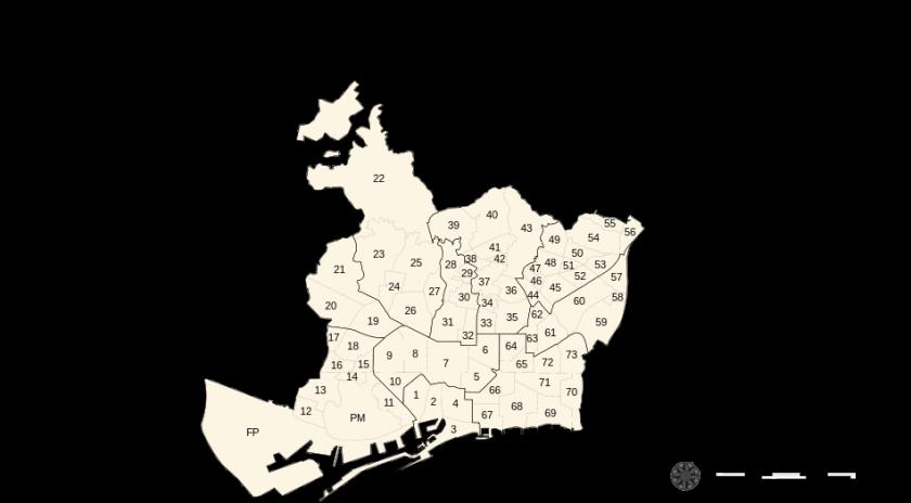 карта барселоны по районам